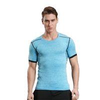 Wholesale Sport Fitness Wear - Tight Short Sleeve Men's Soccer Running Sports Bottom Moisture Moisturizing Quick Elasticity High Elastic Fitness Wear