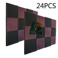 24PCS Acoustic Panel Treatment Silencing Sponge Panel Studio Tile Wedge Foam Sound Absorption Soundproof Foam 30X30X2.5cm