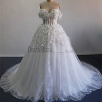 Wholesale Bridal Gowns Ostrich Feathers - 2017 Ball Gown Wedding Dresses with Off Shoulder Ostrich Feathers Beaded 3D Handmand Flowers Sheer Boned Bodice Tulle Bridal Gowns