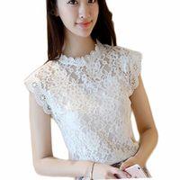 Wholesale Korean Sleeveless Pink Blouse - Lace Blouse Shirt Women Summer Style Blouses Korean Sleeveless fashion Hollow Red Pink White Black Lace Top Female