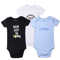 Wholesale Baby Aunt - Newly Funny Baby Clothes 3 Pcs lot Baby Boy Bodysuits Short Sleeve Uncle Aunt Printed Cotton Baby Jumpsuit Clothes for Newborns