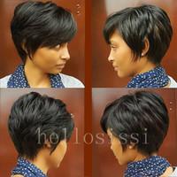 Wholesale Brazilian Beautiful Women - Human Hair Lace Front Wigs 130% Density natural Straight Brazilian Virgin Hair Full Lace Short Bob Wig for Black Women beautiful short wigs