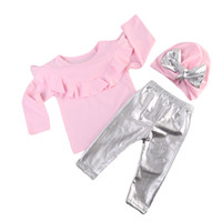 Wholesale Cotton Leather Pants Leggings - 2017 New Baby Girl Clothes Set Long Sleeve Ruffles Pink T-Shirt Tops + Silver Leather Leggings Pants +Bowknot Hat 3PCS Girls Outfits Set