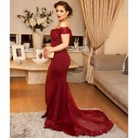 Wholesale Dark Red Charm Beads - Charming Off The Shoulder Dark Red Lace And Stain 2017 Mermaid Prom Dresses Long Sexy Applique Beads Evening Gowns Custom Made