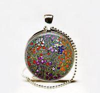 Wholesale Photo Farms - Wholesale Handmade Gustav Klimt's Farm Garden art pendant,Klimt art pendant Glass Photo Necklace garden jewelry