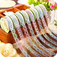 Wholesale Diy Bling Stickers - 36 pcs Lot New bling bling lace tapes Novelty Masking tape DIY scrapbooking sticker washi tape Stationery School supplies 2016