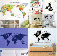 Wholesale World Map Wall Art Decals - World Map Wall Stickers DIY Removable Vinyl Quote Web Map Wall Sticker Decal Mural Decor Mexico Map Decals For Living Room Bedroom