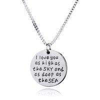 Wholesale Love Deeper - hand stamped 'i love you as high as the sky and deep as the sea 'silver round coin Pendant Necklaces chrismas gift
