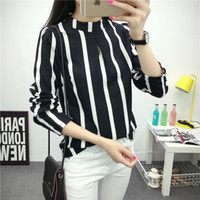 Wholesale Korean Style Striped Shirt - New Korean Style Fashion Cute Hollow Out Long Sleeve Striped Bodysuit Chiffon Shirt Plus Size Women Office Shirts and Tops