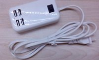 15w usb-tischladegerät groihandel-Desktop 4 Ports USB Reiseladegerät 5V 3A 15W USB Desktop Adapter Ladegerät US EU Stecker mit 1.5m Kabel 20SET / lot
