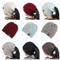 Wholesale hair holes - Ponytail Stretchy Knitted Beanie Cap 21*21cm Women Winter Warm Hole Ski Hat High Bun Hair Stretchy Beanies 100pcs LJJO3675