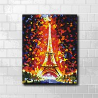 Wholesale eiffel tower canvas painting - Single Unframed Absteact Colorful Eiffel Tower Oil Painting On Canvas Giclee Wall Art Painting Art Picture For Home Decorr