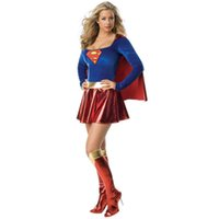 Wholesale Sexy Sporty Girls - 2016 Adult Supergirl Costume Woman Superhero Cosplay Sexy Fancy Dress Female Superman Costumes Girls Cosplay Party Gown Clothes