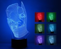 3D Double Face Multi Colored Change USB Touch Button LED Desk Lamp, mesa de luz para sala decorativa ou presentes para amigos / crianças sete