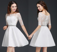 Wholesale Simple Short Cheap Homecoming Dresses - Little White A Line Short Homecoming Dresses Half Sleeves Sheer Jewel Neck Cheap Homecoming Gowns Cocktail Party Wear CPS675
