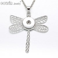 Pendant Necklaces black snake pendant - DZ0229 New Arrivals Styles Dragonfly necklaces for women with snake chain fit mm snap button jewelry