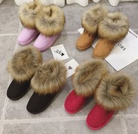 Wholesale Best Western Gift - 2014 Winter warm High Long Snow Boots Artificial Fox Rabbit Fur leather Tassel women's shoes,size 36-40 Best Christmas gift