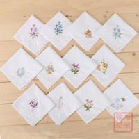 Wholesale Lace Handkerchiefs Wholesale - Cotton Embroidery Handkerchief Napkin Embroid Butterfly Flower White Lace Kerchief Lady Vintage Gift Square Pocket Towel Portable 2 07fb F