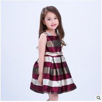 Wholesale Wholesale Evening Gowns Free Shipping - Girls Dresses Stripe Princess Party 2017 Summer Evening Dresses Sleeveless 2 Colors Kids Clothing 7 Sizes Girls Dresses DHL Free Shipping