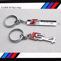 Wholesale Key Ring S Logo - 10 pcs New Car Styling Metal S Line Sline S4 Car Badges Auto logo Emblems Key Ring Chain Keychain Mixed