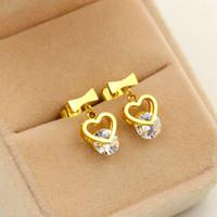 Wholesale Indian Silver Earings - New Arrival Crystal Earrings Ear Gold Color Earings Stainless Steel Earring Stud Earrings For Women Jewelry