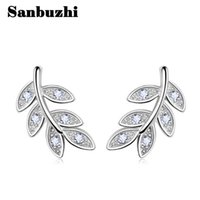 Wholesale Rhodium Plating Process - Sanbuzhi Brand Fashion Silver Jewelry Leaves Stud Earrings With Luxury Zircon Use Rhodium Plated Process For Women ZE39
