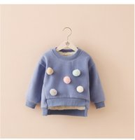 Wholesale Cheap Winter Clothes For Boys - Wholesale- Solid Winter Warming Baby Girls Sweatshirt Blue Fur Inside hoodies Girl Sweater Winter Clothing Child For Cheap Sale
