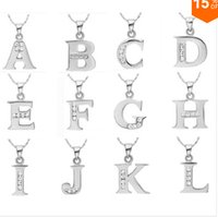 Wholesale Joyas Cz - Wholesale-CYPRIS silver necklace English Letter Capital Crystal Stone Pendant Necklace cz stone shine 18inch collares populare joyas