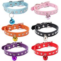Wholesale Kitten Bell - Hot Diamand Cat Collar Elastic Buckle Collars for Pet Cat Kitten Small Animals Collar With Bell Pets Supplies