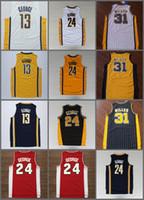 Wholesale George Shirts - Men's Reggie Miller Jersey 31 Throwback Baasketball Miller Jerseys White Black Yellow Red 13 Paul George Jerseys 24 Retro Shirt