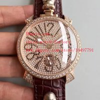 Wholesale Gaga Watch Diamond - Fashion High Quality Watch 18k Rose Gold Diamond Dial 44mm x 12mm GaGa Milano Skull Head Swiss CAL.6497 Mechanical Movement Mens Watches