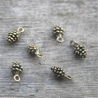 Wholesale Pine Cone Charms - 50pcs--Pine Cone Charms Antique bronze 3D mini Pine cone charm pendant 13x6mm