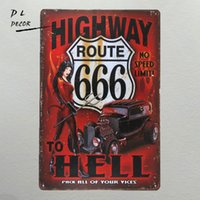 Wholesale antique wall murals - DL-highway to hell Metal Sign vintage crosses wall sticker Home Decor pin up poster antique tray house rules wall art garage Rated