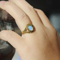 Wholesale Idea Style - classical oval opal ring June birthstone jewelry celtic style vintage inspired charm young lady gift idea