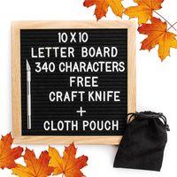 Wholesale Felt Frames - 10x10 Inches Black Felt Letter Board Changeable Letter Boards 340 White Plastic Letters Free Craft Knife Oak Wood Frame Easels Toys 938