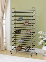 Wholesale Rack Wheels - Free Standing 10 Tier Shoe Tower Rack W  Wheel Chrome Metal Shoe Rack Max 50 Pair