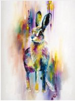 Wholesale Dafen Oil - Lovely Colorful Rabbit,High Quality genuine Hand Painted Wall Decor Abstract Animal Pop Art Oil Painting On Canvas ali-Dafen