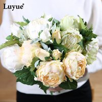 Wholesale High Quality Wedding Bouquet - Luyue Artificial peony flowers one bouquet high quality silk flowers wedding party and home decoration bridal flowers centerpiec