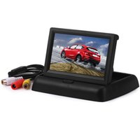 Wholesale Car Roof Lcd Screen - High Definition 4.3 inch Car Rear View Monitor with Reserving Digital LCD TFT Display Screen Foldable Vehicle Rearview Monitors