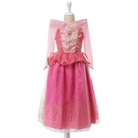 Wholesale Cotton Sleeping Gown - Sleeping Beauty Princess costume child summer spring pink girl dress Princess Aurora Dresses for girls party Costume free fast shipping