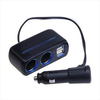 Wholesale Vehicle Lighting Accessories - Wholesale-Triple 1 to 2 Socket + 3 USB Power Supply Car Charger with blue light Auto Vehicle Adapter Accessory Free Shipping Dropshipping