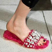 Wholesale Sexy Hollywood Woman - New fashion brand solid pearl flat with women Slides wool hollywood star peep toe sandals sexy causal warm winter slippers shoes Size 43