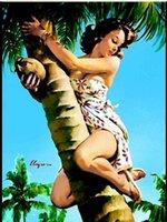 масляные холсты ладони оптовых-В рамке GIL ELVGREN Тропическая Пальма, Чистая Ручная роспись Pinup Girl Art Картина Маслом На Качестве Холст Мульти Размеры Бесплатная Доставка Pin024