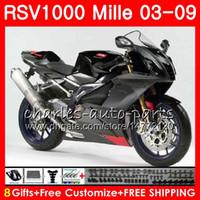 Wholesale R Gray - Body For Aprilia RSV1000 R Mille RSV1000 03 04 05 06 07 08 09 76HM14 RSV 1000R RSV1000R 2003 2004 2005 2006 2007 2009 Fairing Stock black