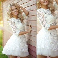 Wholesale Mini Skirt Bride Dress - Mini Dresses Wedding Gowns 2017 Sheer Lace Short Half Sleeves Bridal Dress Summer Beach A-line Gown For Brides