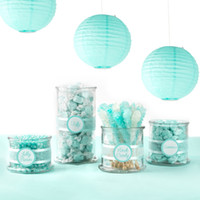 ingrosso carta decorativa lanterna-8 Pz Tiffany Blue (Mix 20 Cm 30 Cm) Lanterne di Carta Cinesi Sfere Decorative Lanterne di Carta Cinese Giardino domestico Appeso Decor