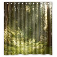 Polyester spring shower curtains - Spring Green Trees Forest Customized Curtain Fabric Bath Bathroom Waterproof Shower Curtain Size x72 x72 x72 inches