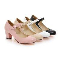 ingrosso scarpe da sposa scarpe piccole-SPEDIZIONE GRATUITA nuovo stile scarpe da sposa tacco alto tacco grosso piccolo naso tondo fibbia scarpe col tacco alto per le scarpe da donna 274