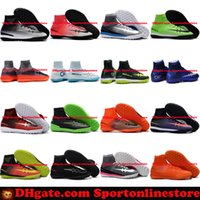Wholesale Man Spike Street Shoe - Turf Football Boots MercurialX Proximo Street CR7 Football Soccer Shoes Elastico Superfly TF High Top Mercurial Soccer Cleats Boots Cheap