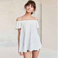 Wholesale Wild Sweet Blouse - Off Shoulder Sweet Solid Color T Shirt Wild Bohemian Top Summer Harajuku White Blouses Fashion Cute Women Clothing 50H0236